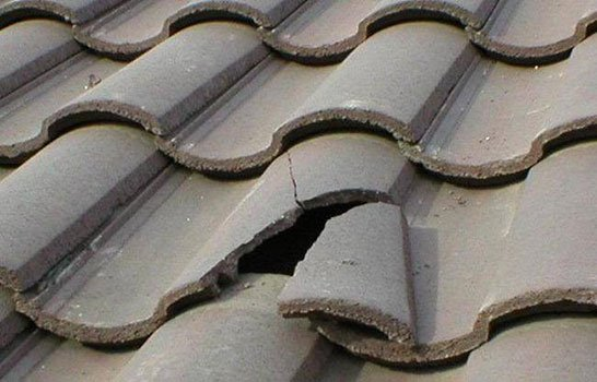 broken tile on roof
